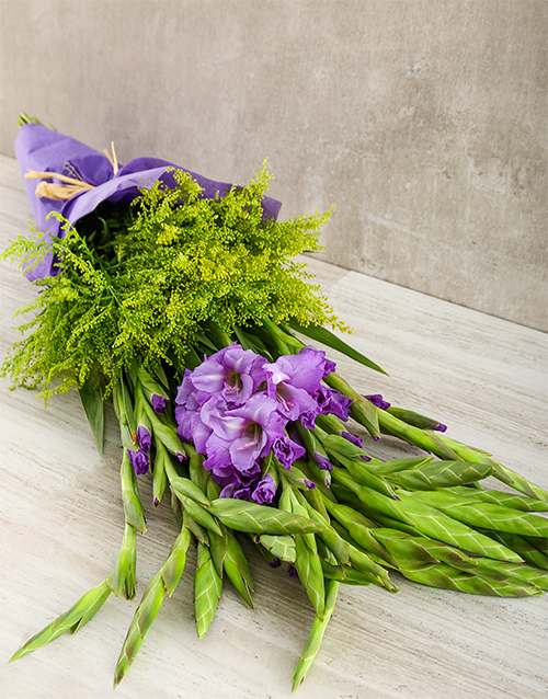 gladiolus: Purple Gladiolus and Goldenrod Bouquet!