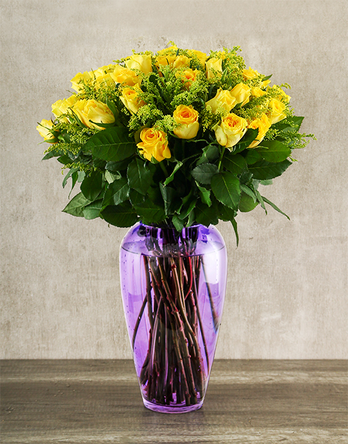 colour: 24 Yellow Roses in Purple Vase!