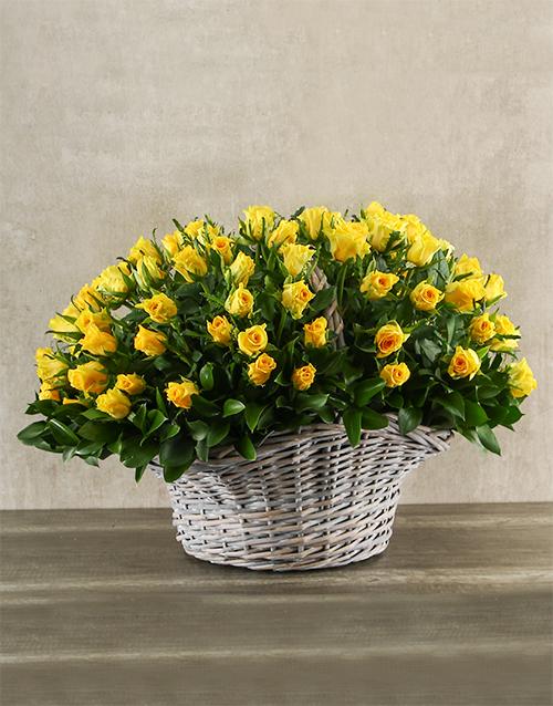 colour: Bountiful Yellow Rose Basket!