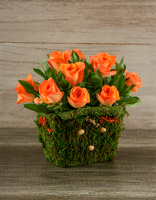 prices: Orange Roses in Moss Basket!