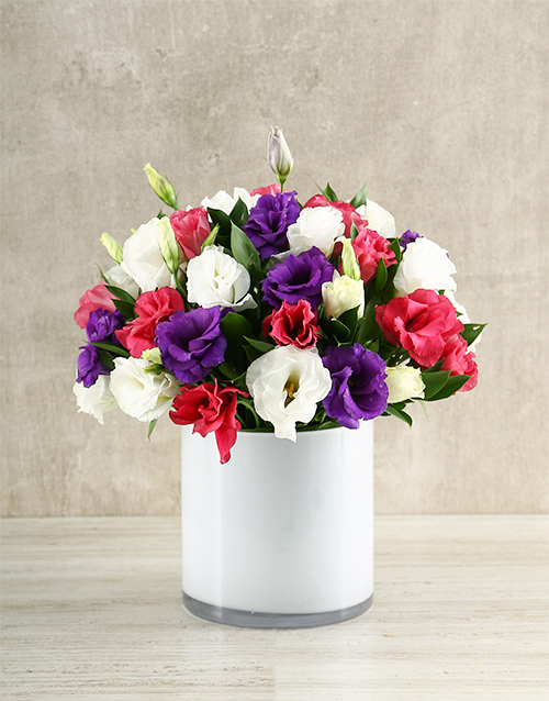 coloured-vases: Mixed Lizzies in White Vase!
