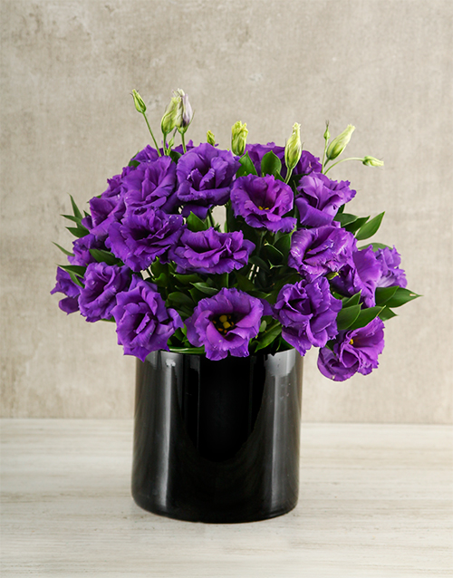 seasonal: Purple and Black Lisianthus Vase!