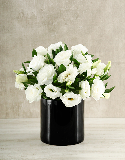 love-and-romance: White and Black Lisianthus Vase!