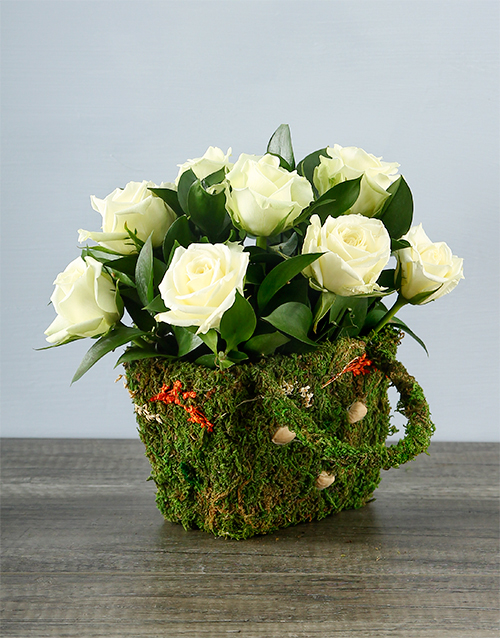 get-well: White Rose Moss Basket!