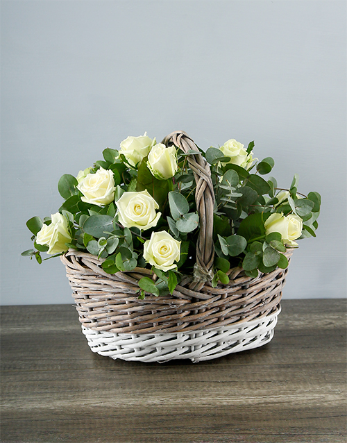 roses: White Roses in White and Grey Basket!