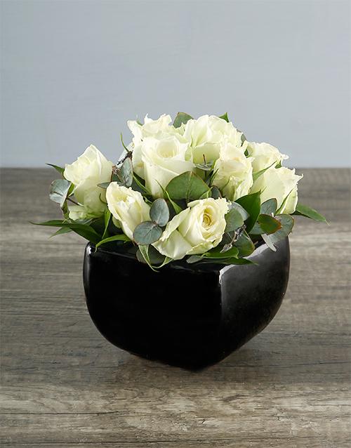 prices: White Roses in Black Pottery Vase!