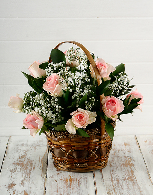 roses: Woven Basket of Pink Roses!