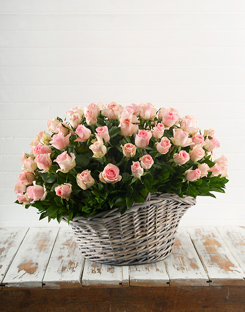 roses: Basket of 100 Pink Roses!