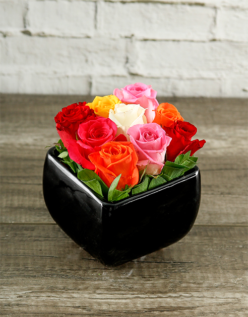 pottery: Rainbow Roses in Black Square Vase!