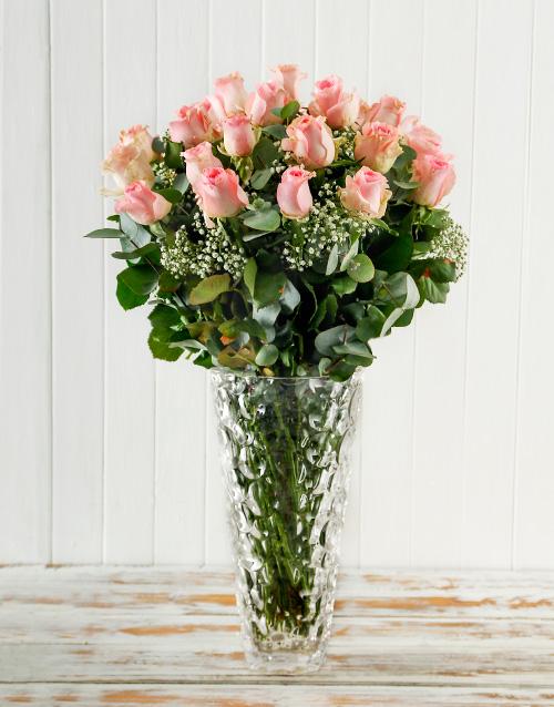 roses: Pink Roses in a Crystal Vase!
