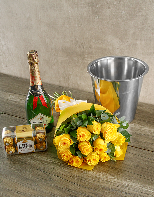 roses: Yellow Roses Champagne and Chocolates!