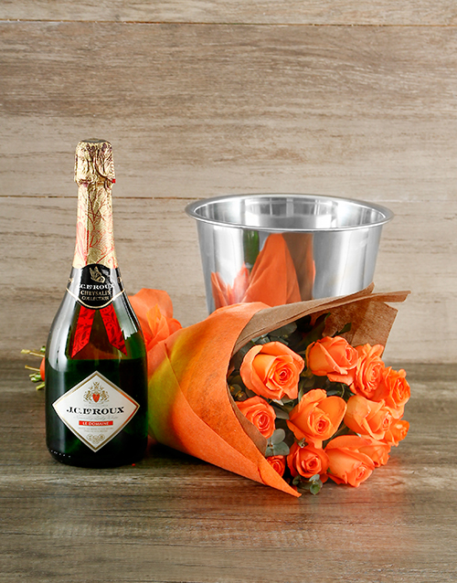 colour: Orange Rose and Bubbly Gift!