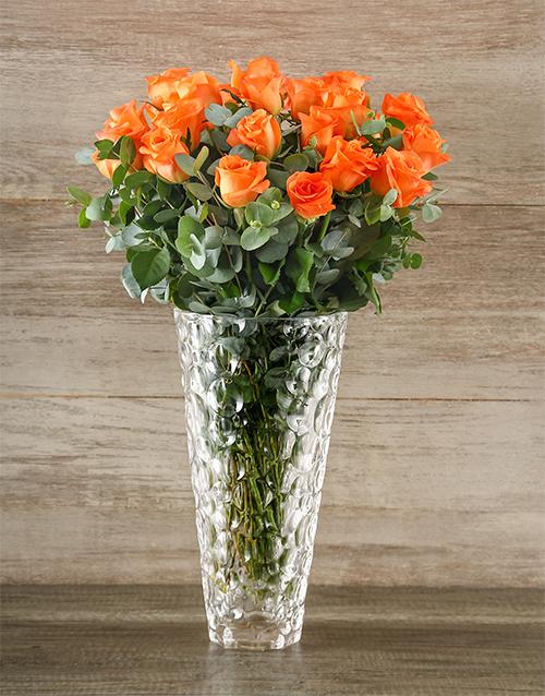 colour: Passionate Orange Rose Arrangement!