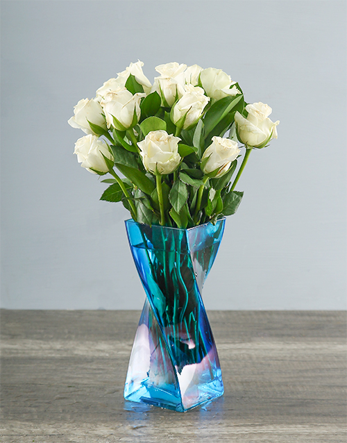 roses: White Roses in a Blue Twisty Vase!