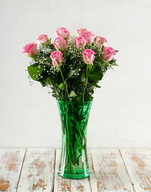 flowers: Elegant Pink Roses in Green Vase!