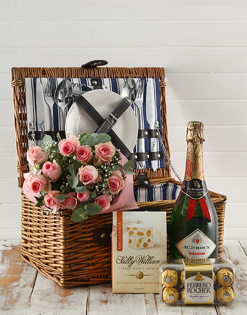 flowers: Pink Perfection Picnic Basket Delight!