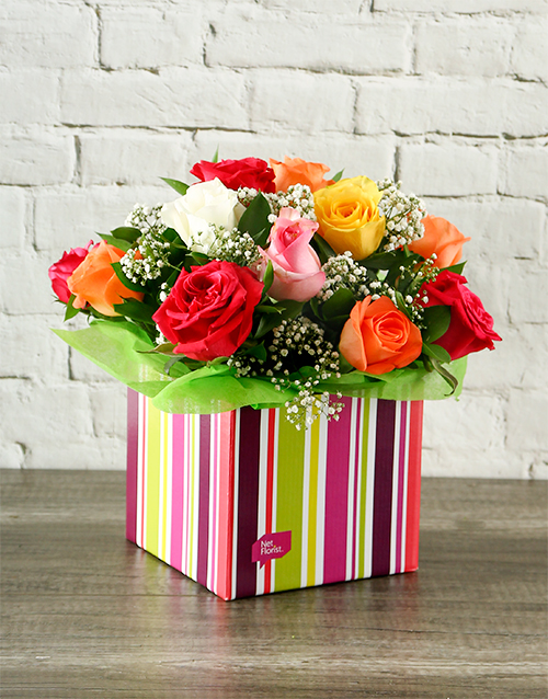 anniversary: Rainbow Roses in Colourful Box!