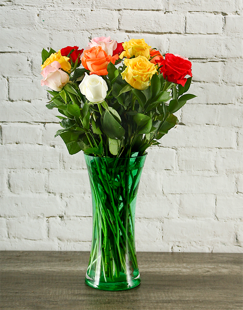 colour: Rainbow Roses in Grassy Green Vase!