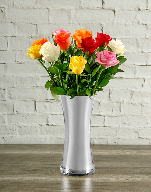 roses: Rainbow Roses in Silver Vase!