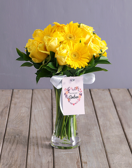 vase: Personalised Welcome Baby Yellow Arrangement!