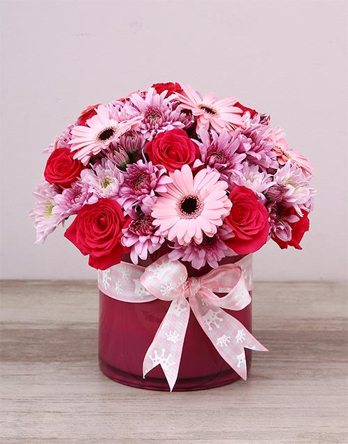 flowers: Baby Girl Pink Flowers In Cylinder Vase!