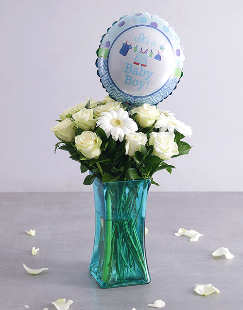 coloured-vases: Baby Boy Floral Arrangement!