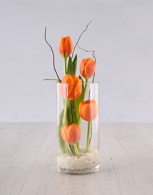 womens-day: Tulips in Cylinder Vase!