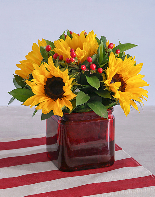 coloured-vases: Sunflowers in a Square Vase!