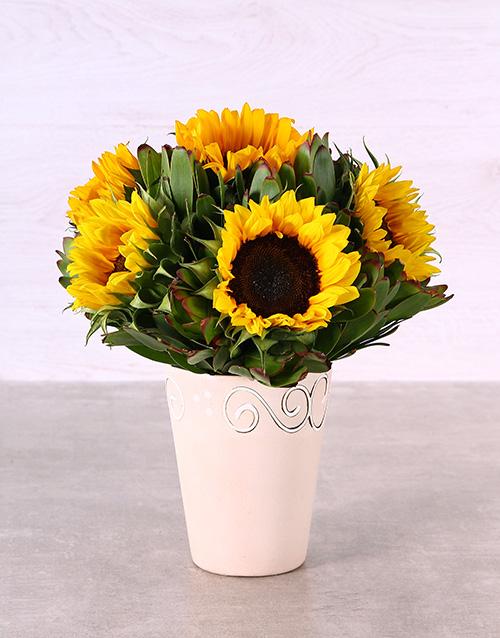 spring-day: Ceramic Pot of Sunflowers!