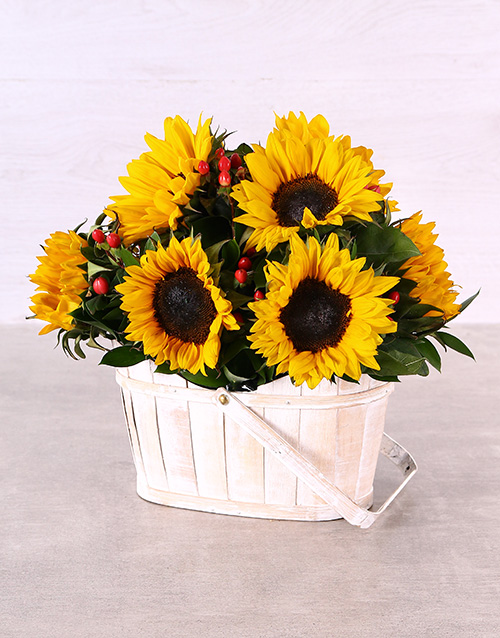 sunflowers: Sunflowers in White Wash Basket!
