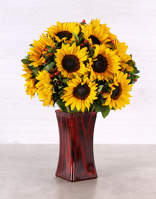 sunflowers: Sunflowers in a Tall Red Vase!