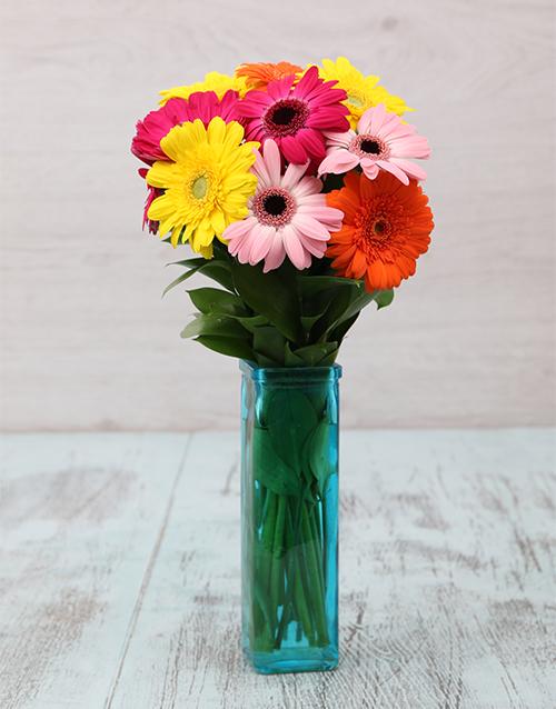 flowers: Gerberas in Blue Vase!