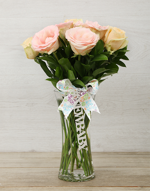baby: New Baby Pastel Rose Arrangement!