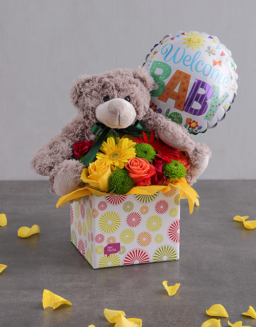 baby: Welcome Baby Teddy & Balloon Box!