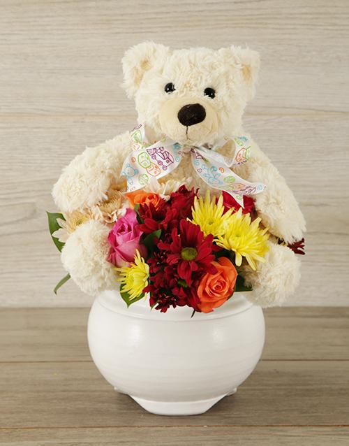 baby: Teddy and Mixed Bloom Arrangement!