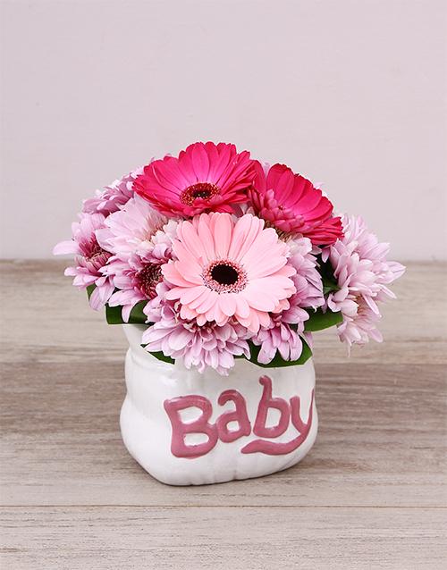 baby: Pink Ceramic Baby Bag Arrangement!