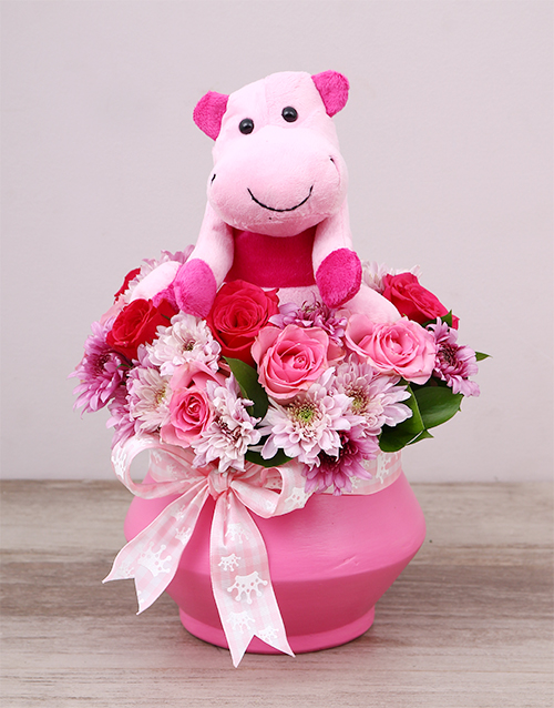 teddy-bears: Pink Hippo Teddy and Rose Arrangement!