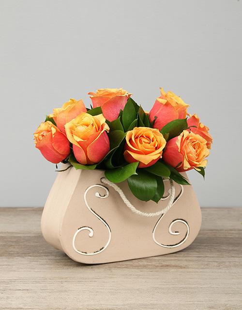 speciality: Ceramic Handbag of Cherry Brandy Roses!