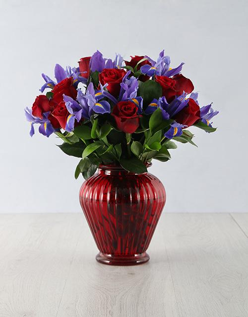 roses: Bright Iris Rose Arrangement!