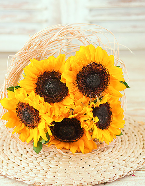 sunflowers: Sunflowers in a Bouquet Holder!