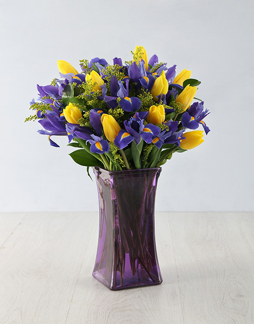 irises: Dazzling Iris and Tulip Arrangement!