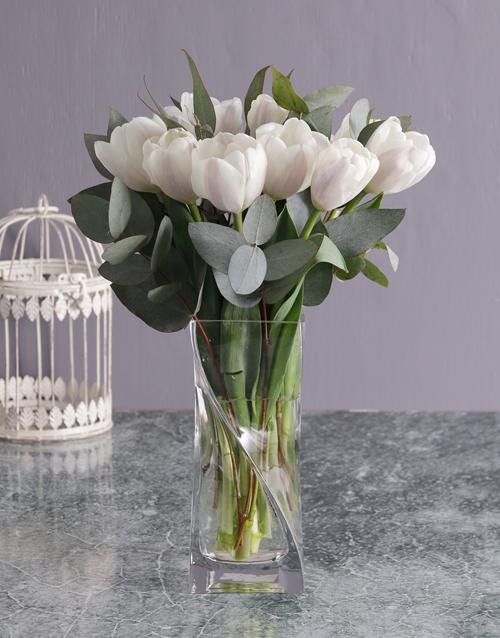 vase: White Tulips and Gum Leaves in Vase!