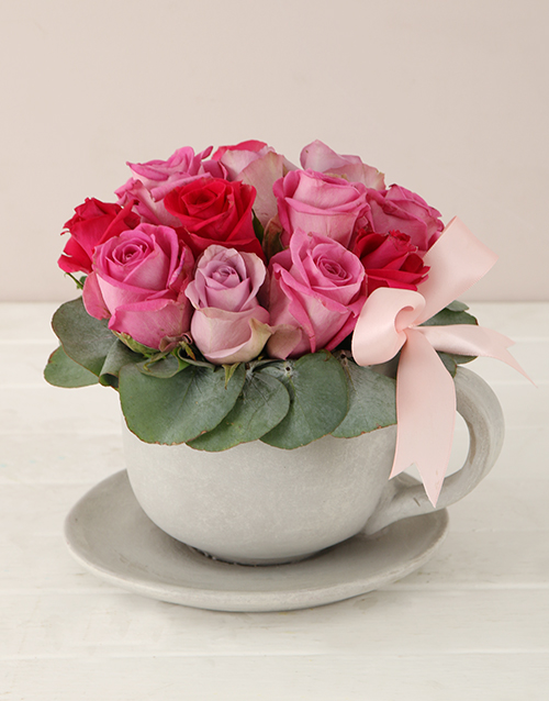 flowers: Pink Swirl Tea Cup and Saucer Arrangement!