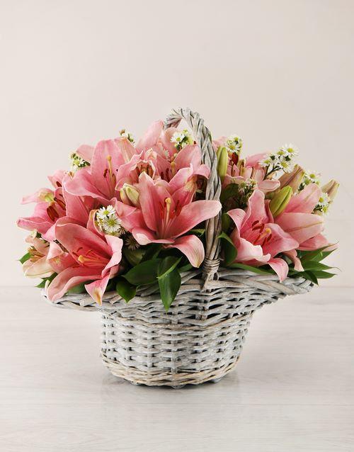 luxury: Pink Asiflorum Lily Basket!