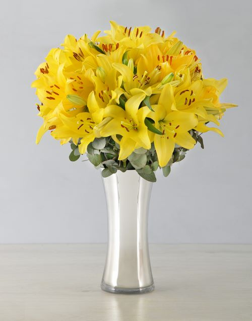 colour: Yellow Asiflorum Lilies in Silver Vase!