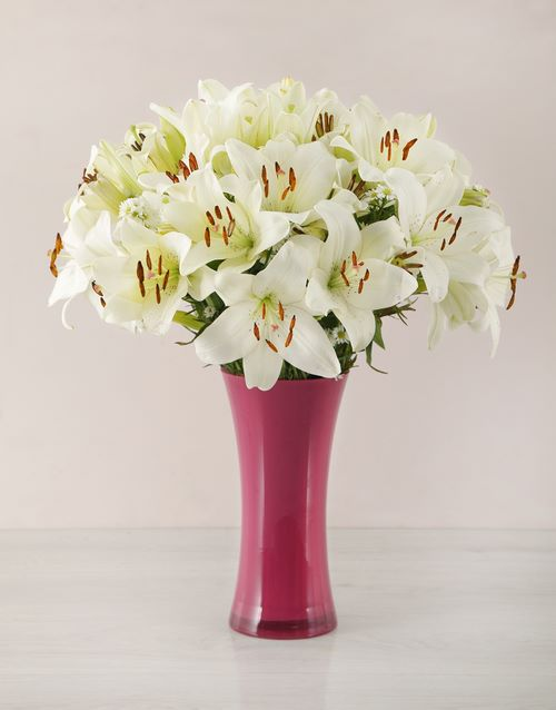 vase: White Asiflorum Lily and Golden Rod Vase!