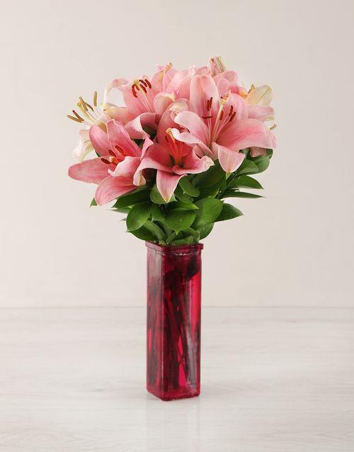vase: Pink Asiflorum Lily Vase !