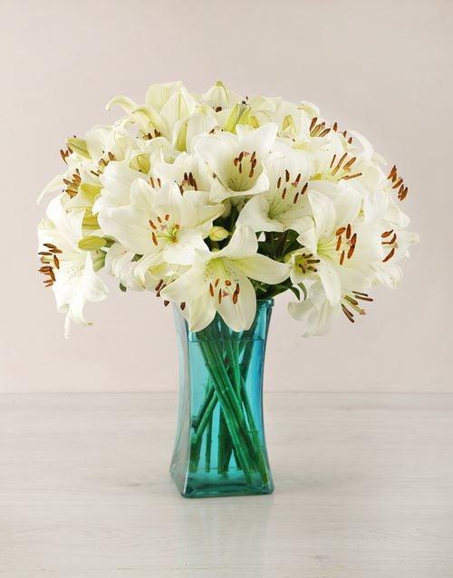 sympathy: White Asiflorum Lilies in Turquoise Vase!