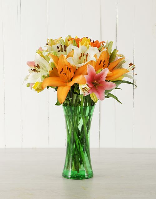 lilies: Mixed Asiflorum Lilies in Green Vase!