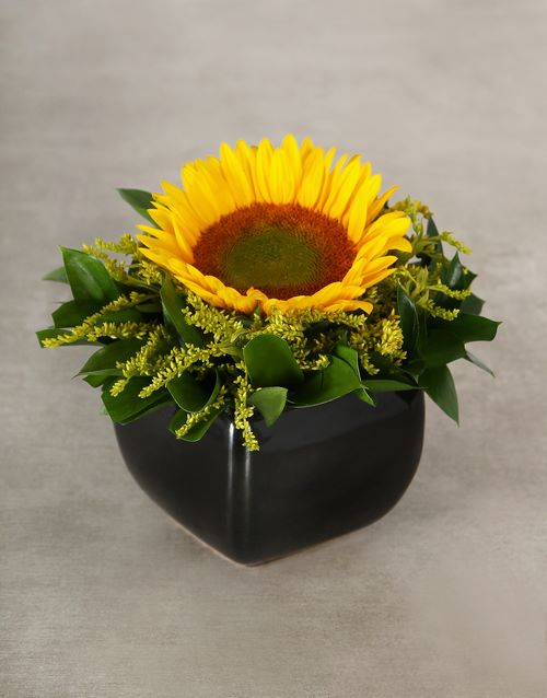 pottery: Green Button Sunflower in Glazed Vase!